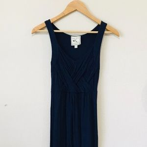 Pink Rose Navy Blue Sleeveless Maxi Dress